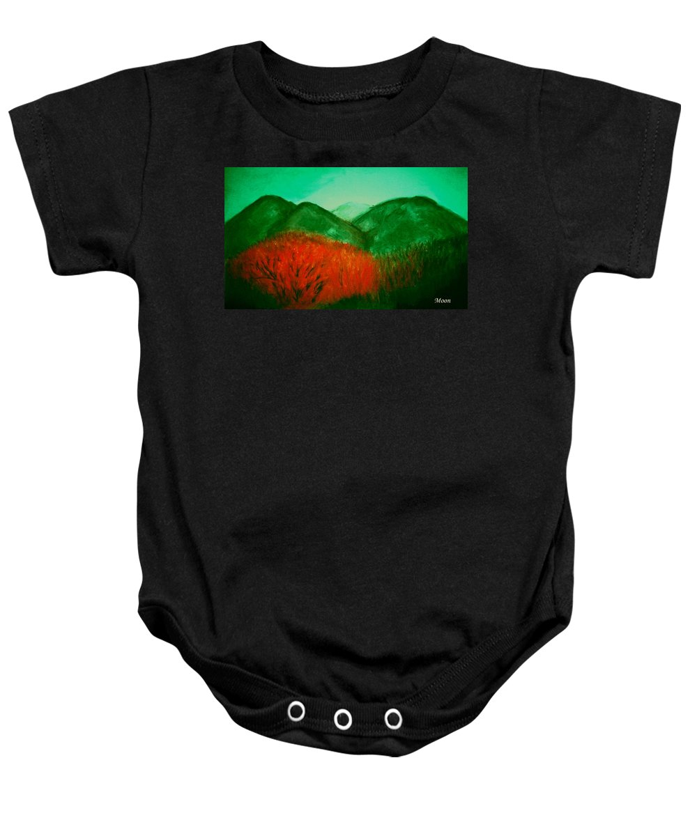 Mountains Baby Onesie featuring the pastel Smoky by Melvin Moon
