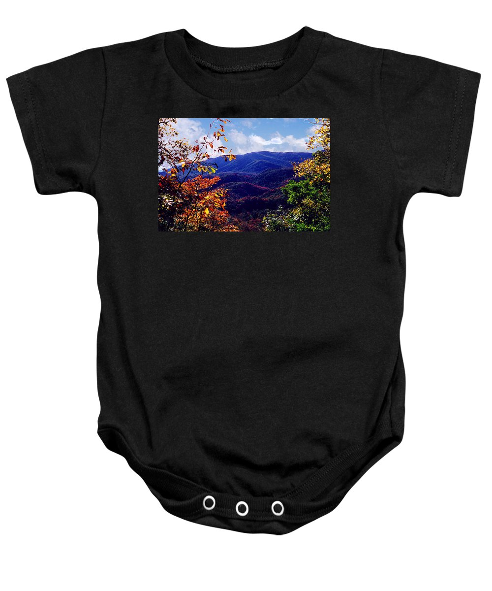 Mountain Baby Onesie featuring the photograph Smoky Mountain Autumn View by Nancy Mueller
