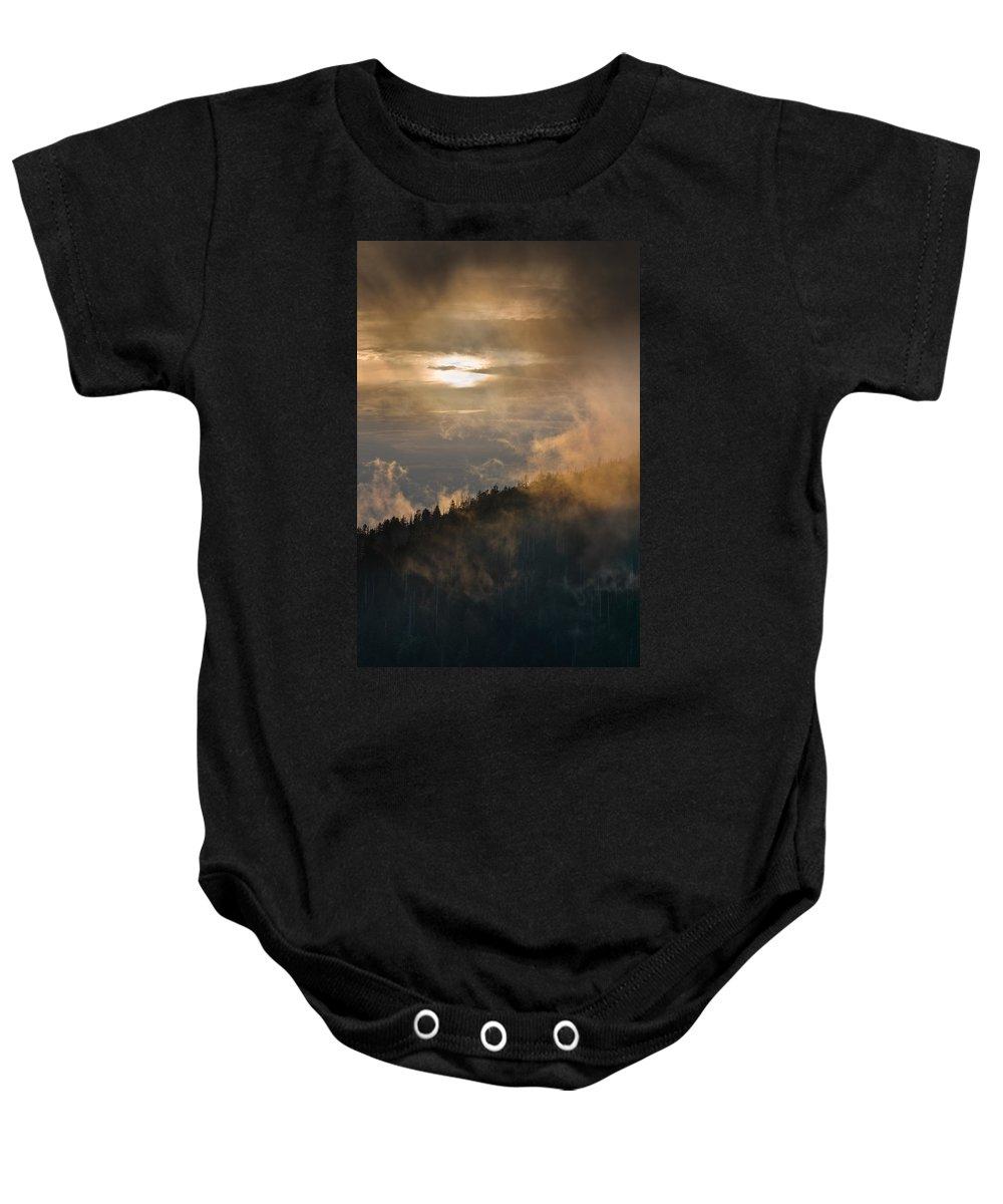 Carolina Baby Onesie featuring the photograph Smoky Mountain by Steve Gadomski