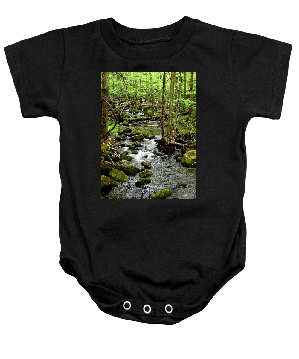 River Baby Onesie featuring the photograph Smoky Mountain Stream 2 by Nancy Mueller