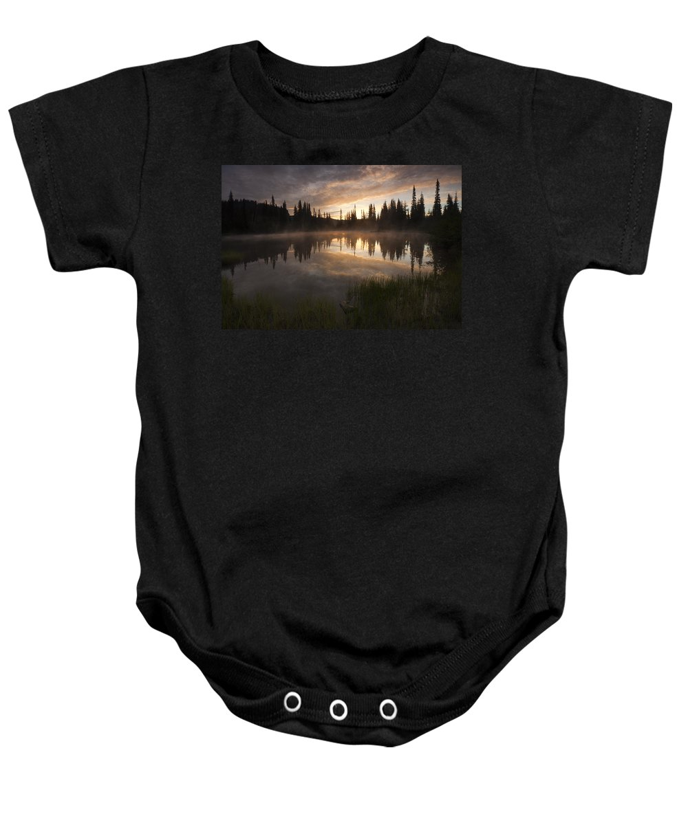 Lake Baby Onesie featuring the photograph Smoldering Dawn by Mike Dawson