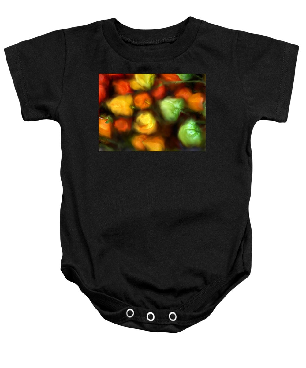 Peppers Baby Onesie featuring the photograph Smooth Peppers by Ian MacDonald