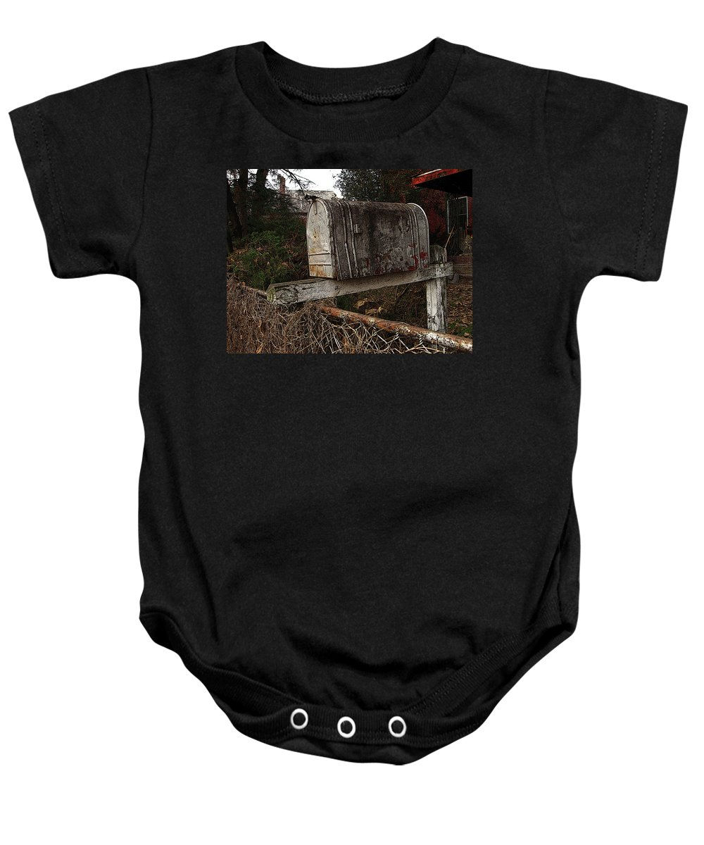 Mail Box Baby Onesie featuring the photograph Snail Mail Receptacle by Jay Ressler
