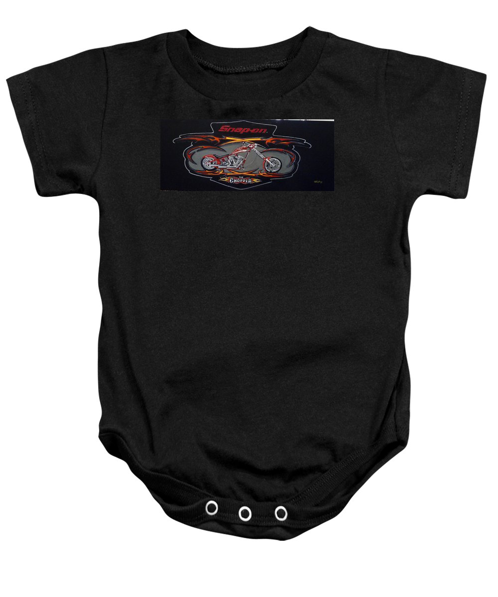 Bike Baby Onesie featuring the painting Snap-on Chopper by Richard Le Page