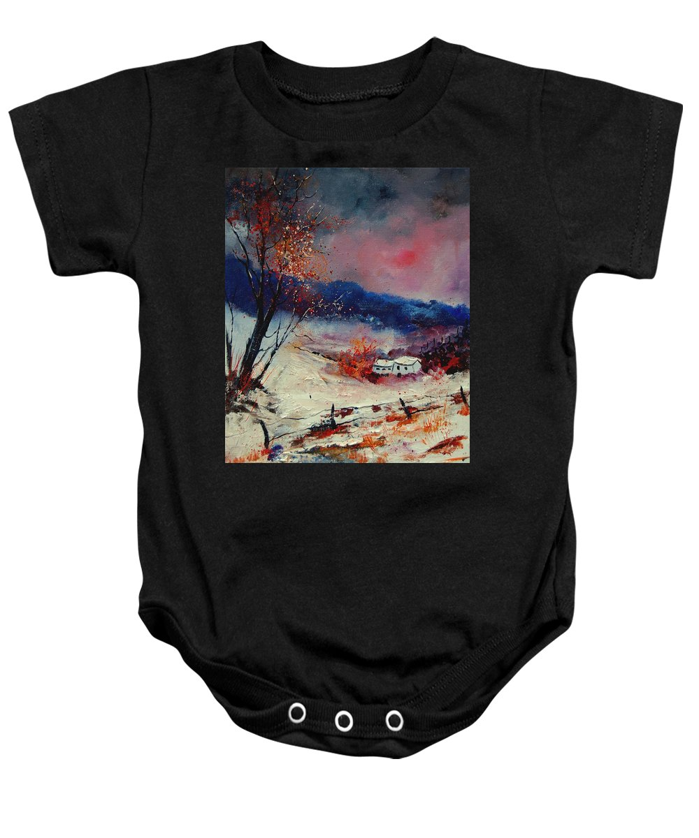Winter Baby Onesie featuring the painting Snow 569020 by Pol Ledent