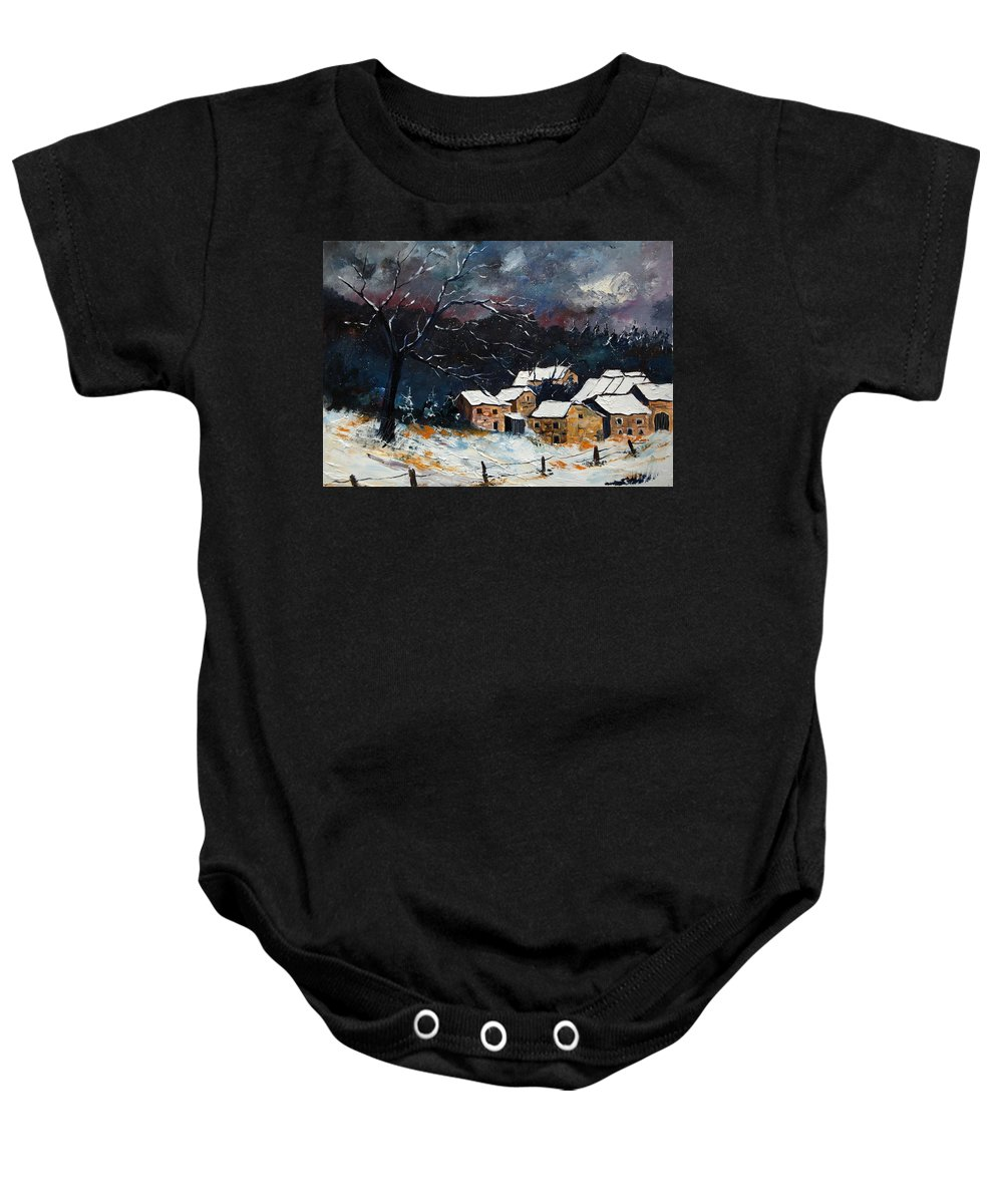 Snow Baby Onesie featuring the painting Snow 57 by Pol Ledent