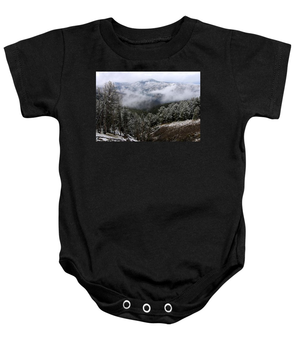Yellowstone National Park Baby Onesie featuring the photograph Snow And Clouds In The Mountains by Larry Ricker