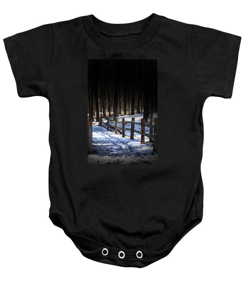 Snow Baby Onesie featuring the digital art Snow Covered Bridge by Kim Henderson