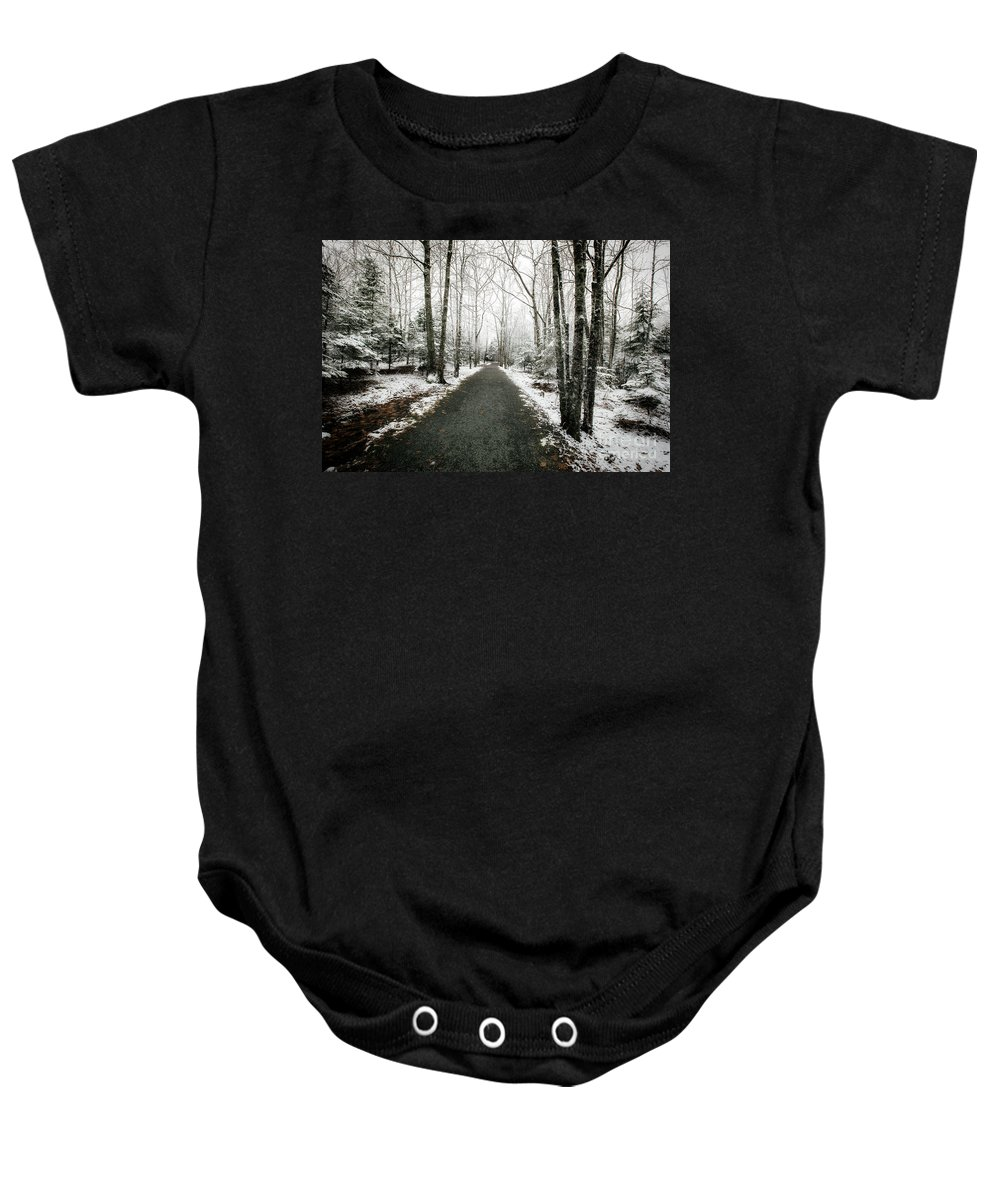 Snow Baby Onesie featuring the photograph Snow Dust by Susan Garver