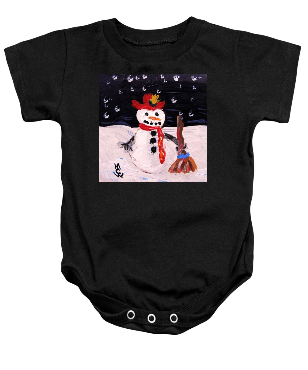 Snowman Baby Onesie featuring the painting Snowman Under The Stars by Mary Carol Williams