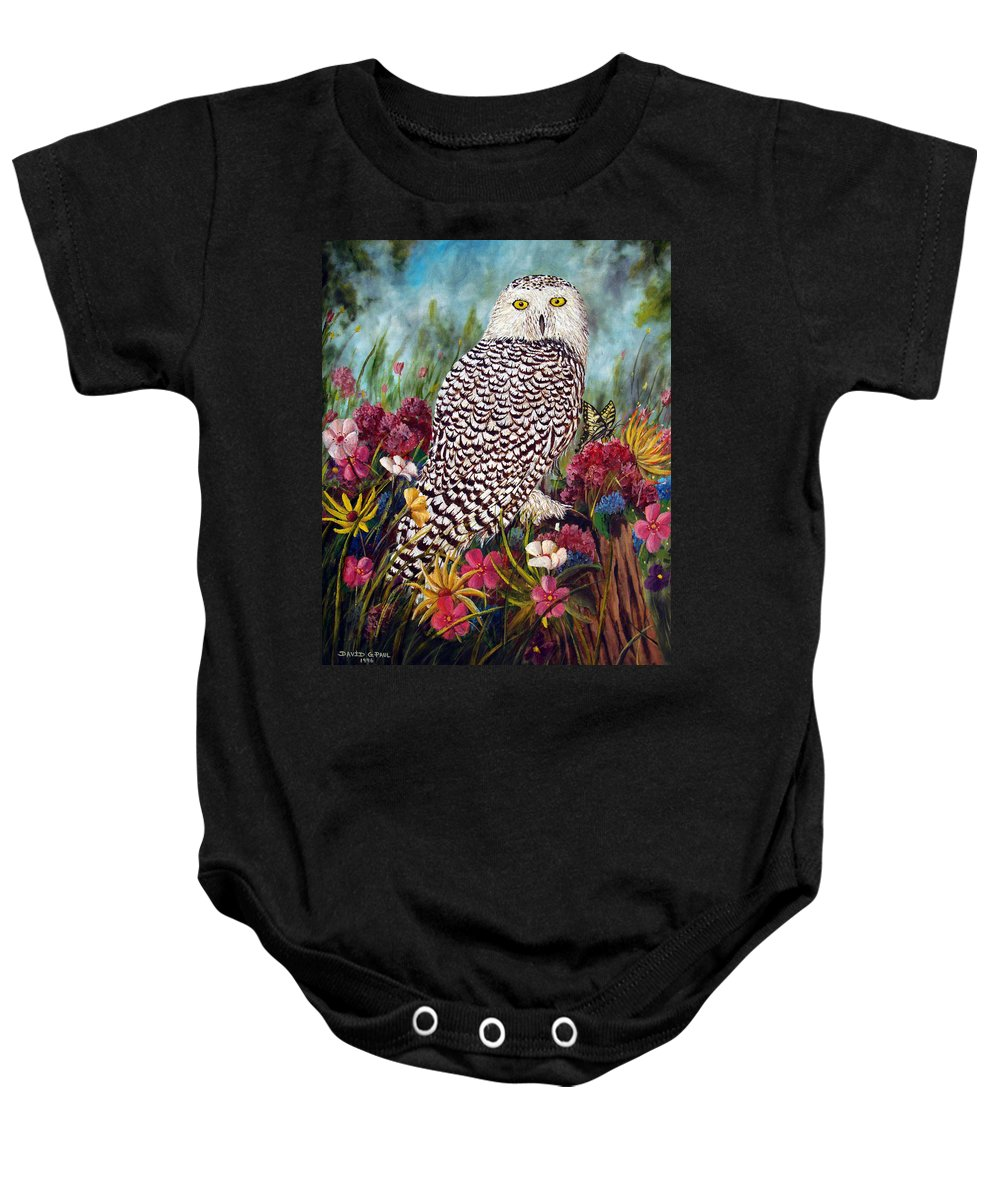 Owl Baby Onesie featuring the painting Snowy Owl by David G Paul