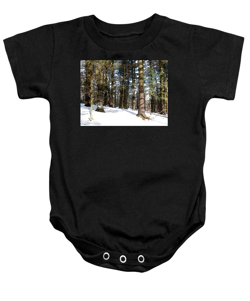 Nature Baby Onesie featuring the painting Snowy Wilderness by Paul Sachtleben