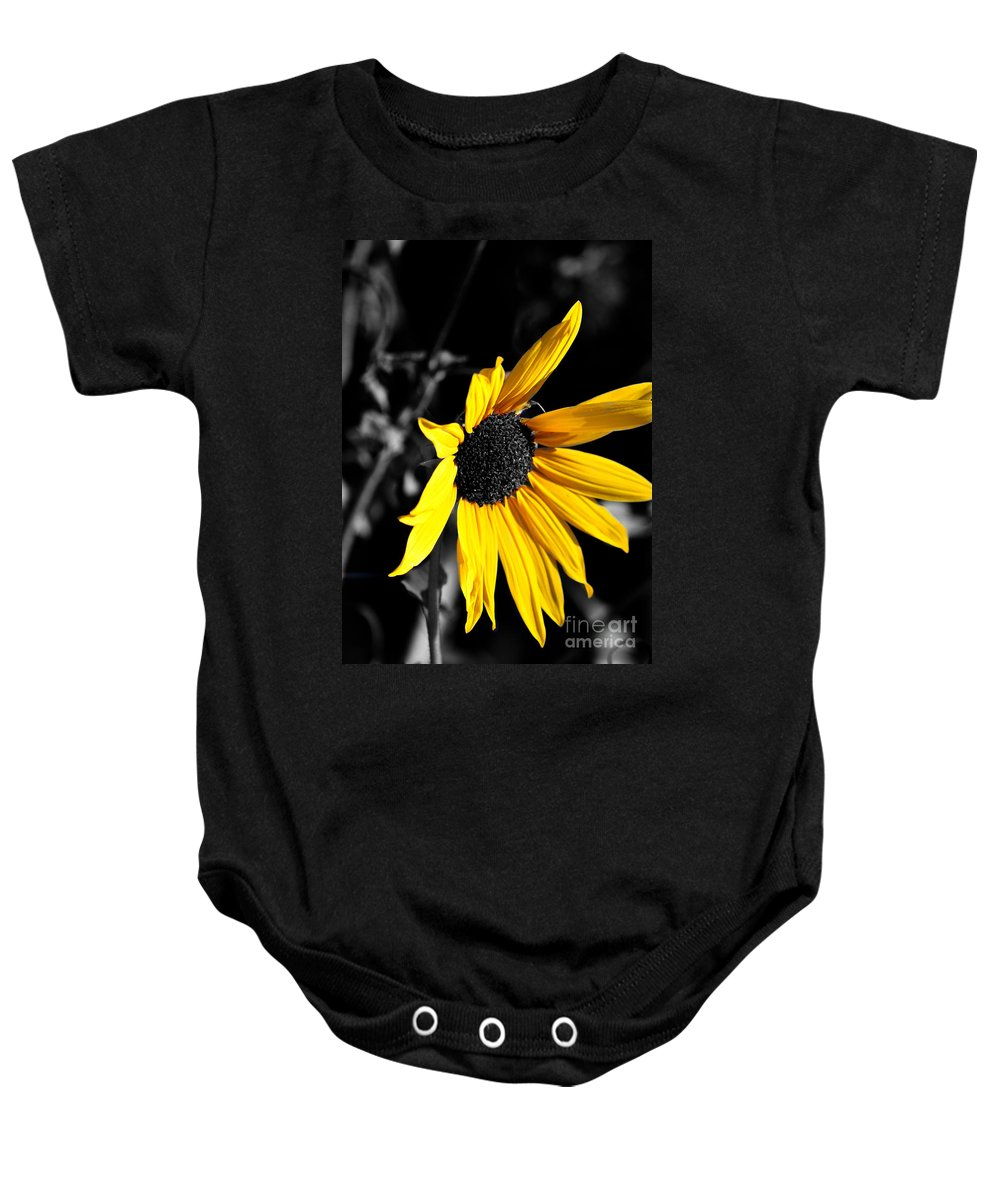 Clay Baby Onesie featuring the photograph Soaking Up The Yellow Sunshine by Clayton Bruster