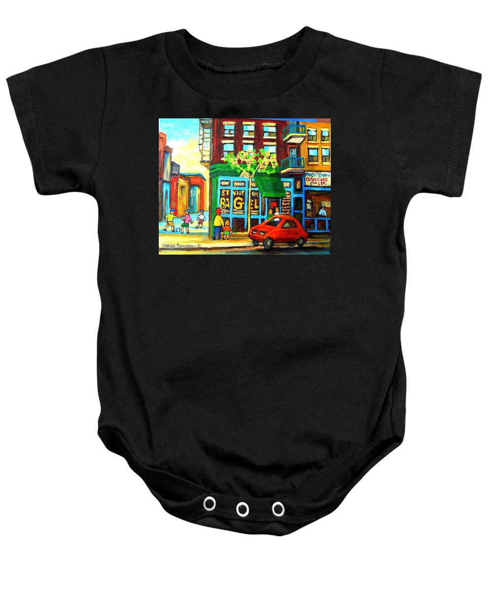St Viateur Bagel Shop Montreal Street Scenes Baby Onesie featuring the painting Soccer Game At The Bagel Shop by Carole Spandau