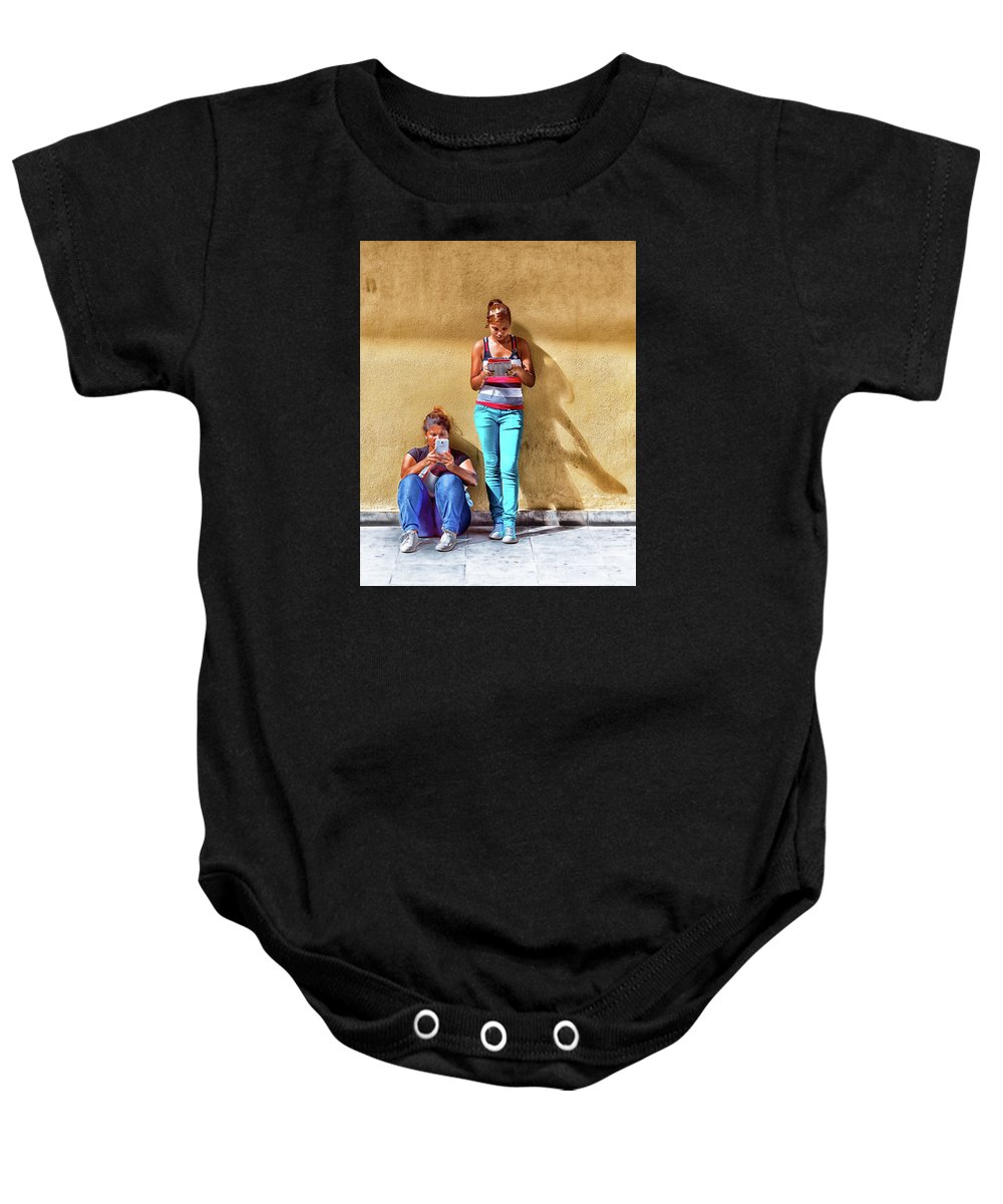 Cellphone Baby Onesie featuring the photograph Modern Socializing by Clifford Beck