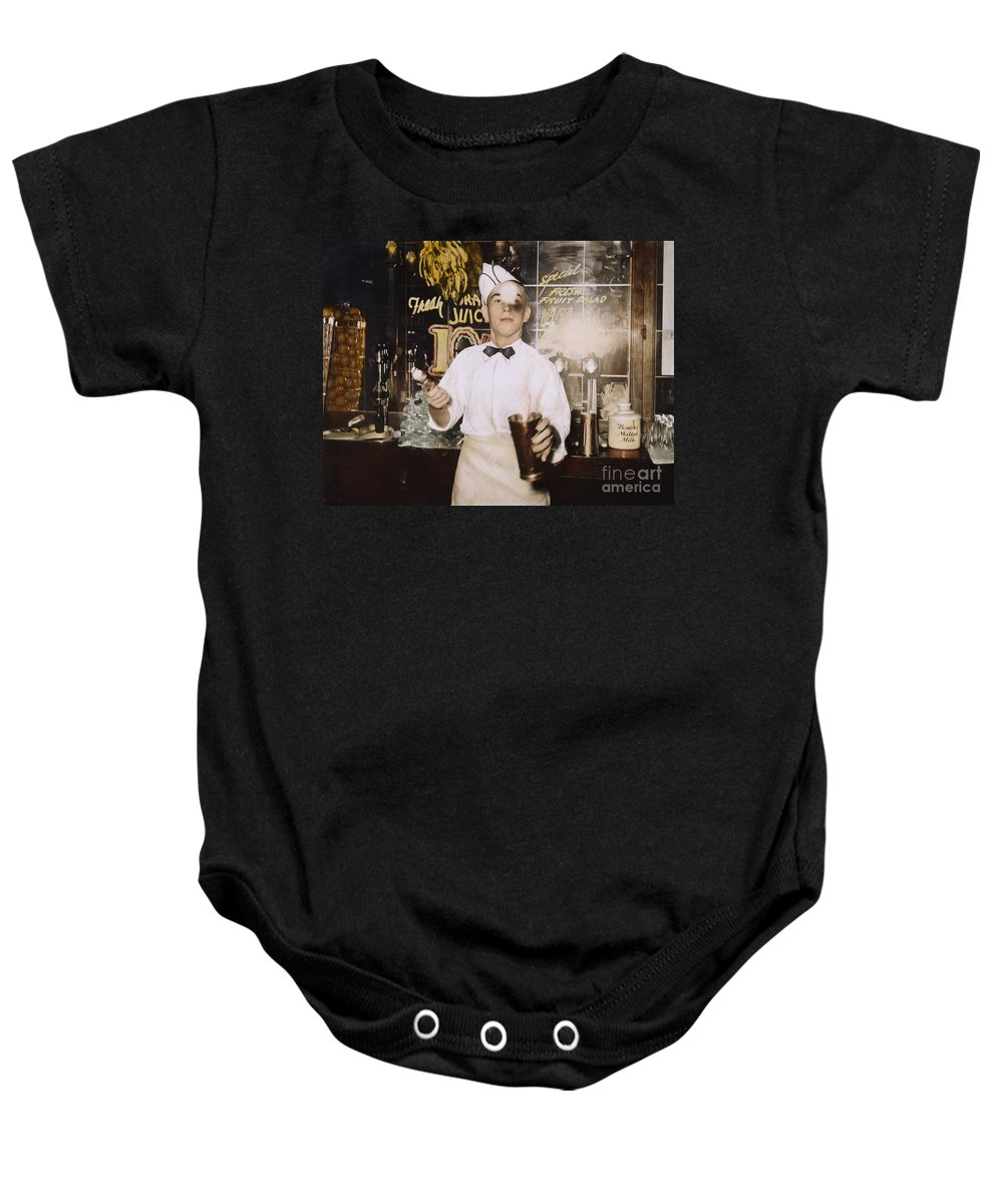 1939 Baby Onesie featuring the photograph Soda Jerk, 1939 by Granger