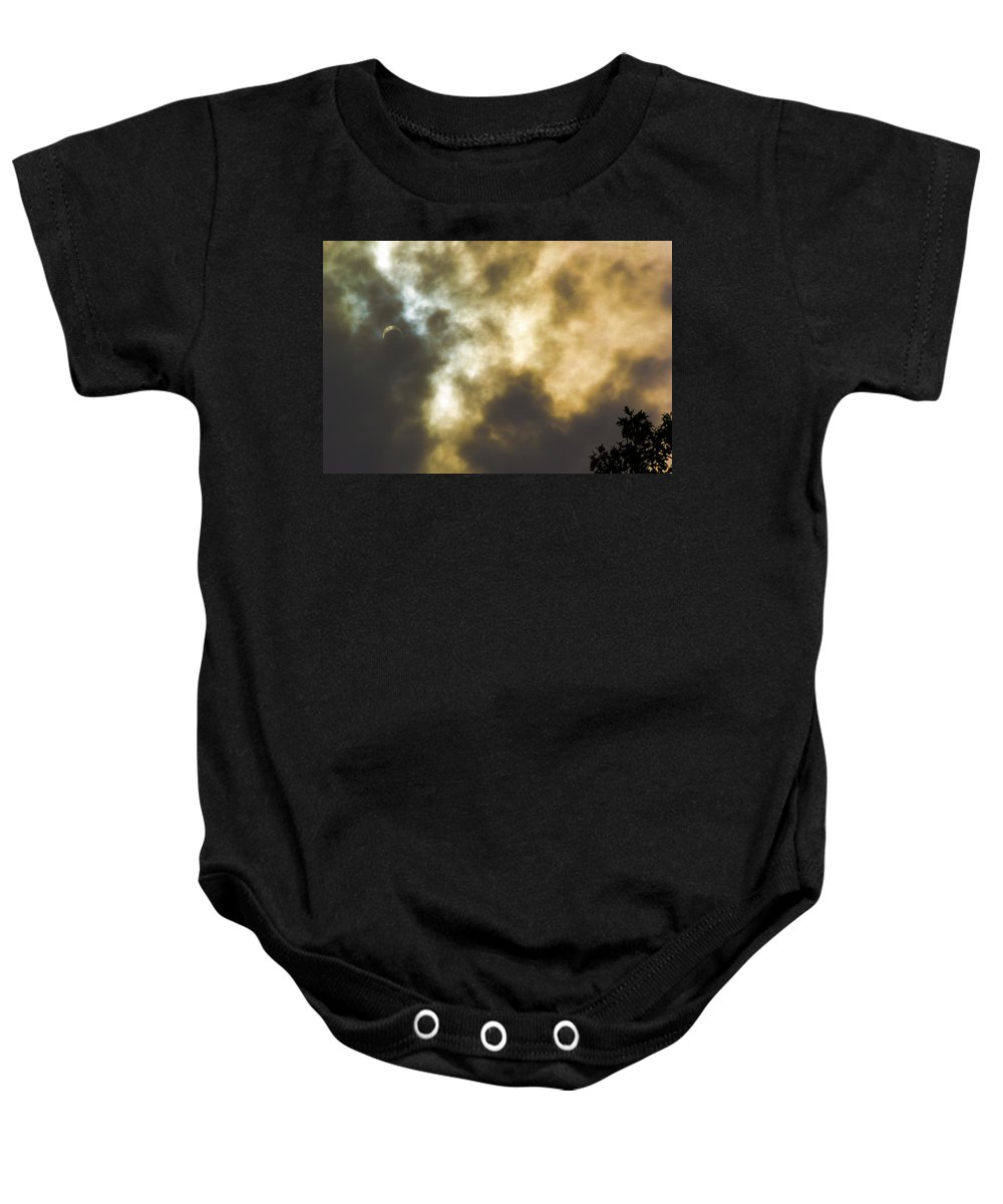 Door County Baby Onesie featuring the photograph Solar Eclipse On Washington Island by Steve Waldron