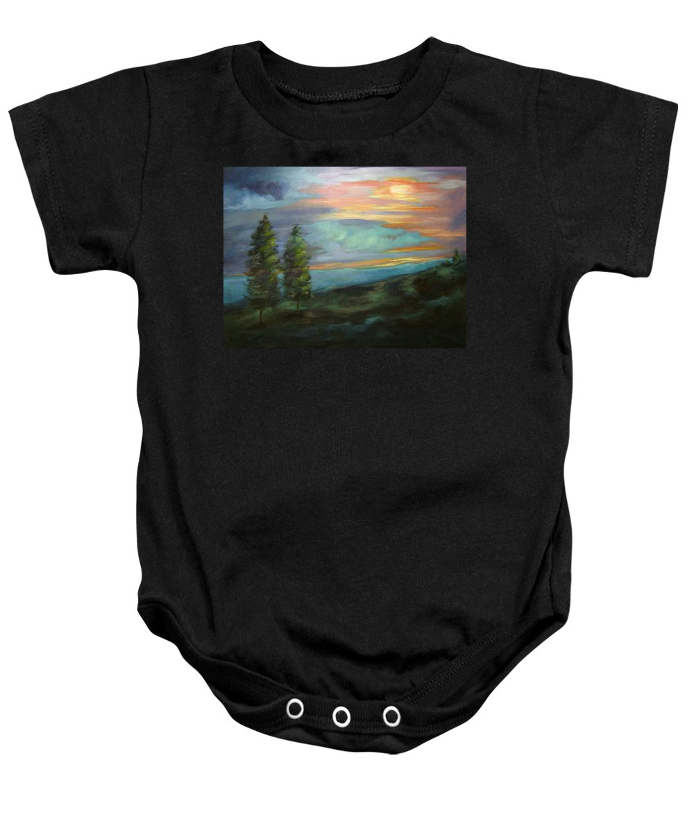 Landscape Baby Onesie featuring the painting Soledad by Ginger Concepcion