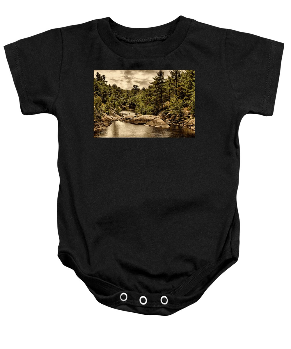 River Baby Onesie featuring the digital art Solitary Wilderness by JGracey Stinson