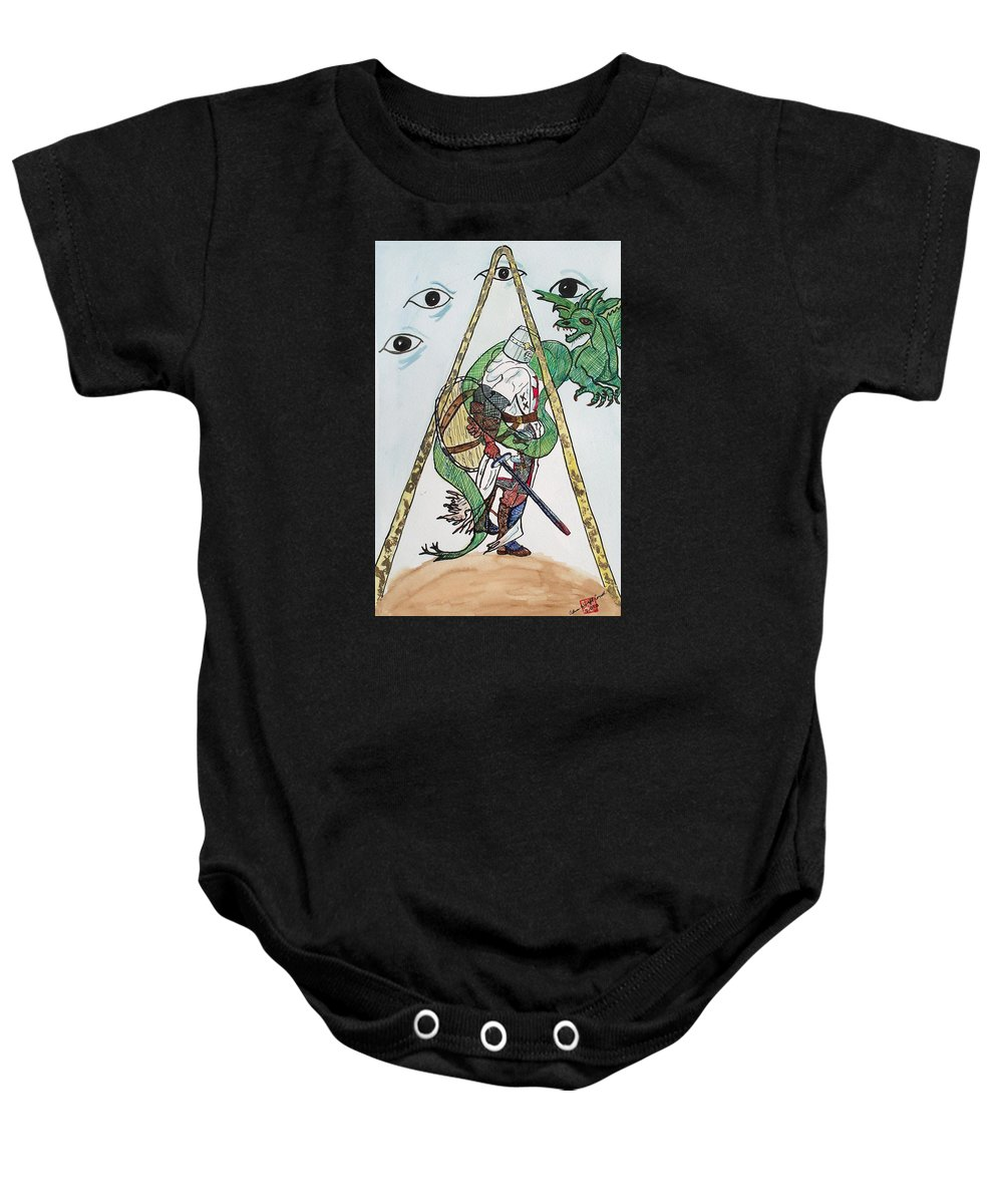 Knights Baby Onesie featuring the painting Sometimes The Dragon Wins by Arlene Wright-Correll