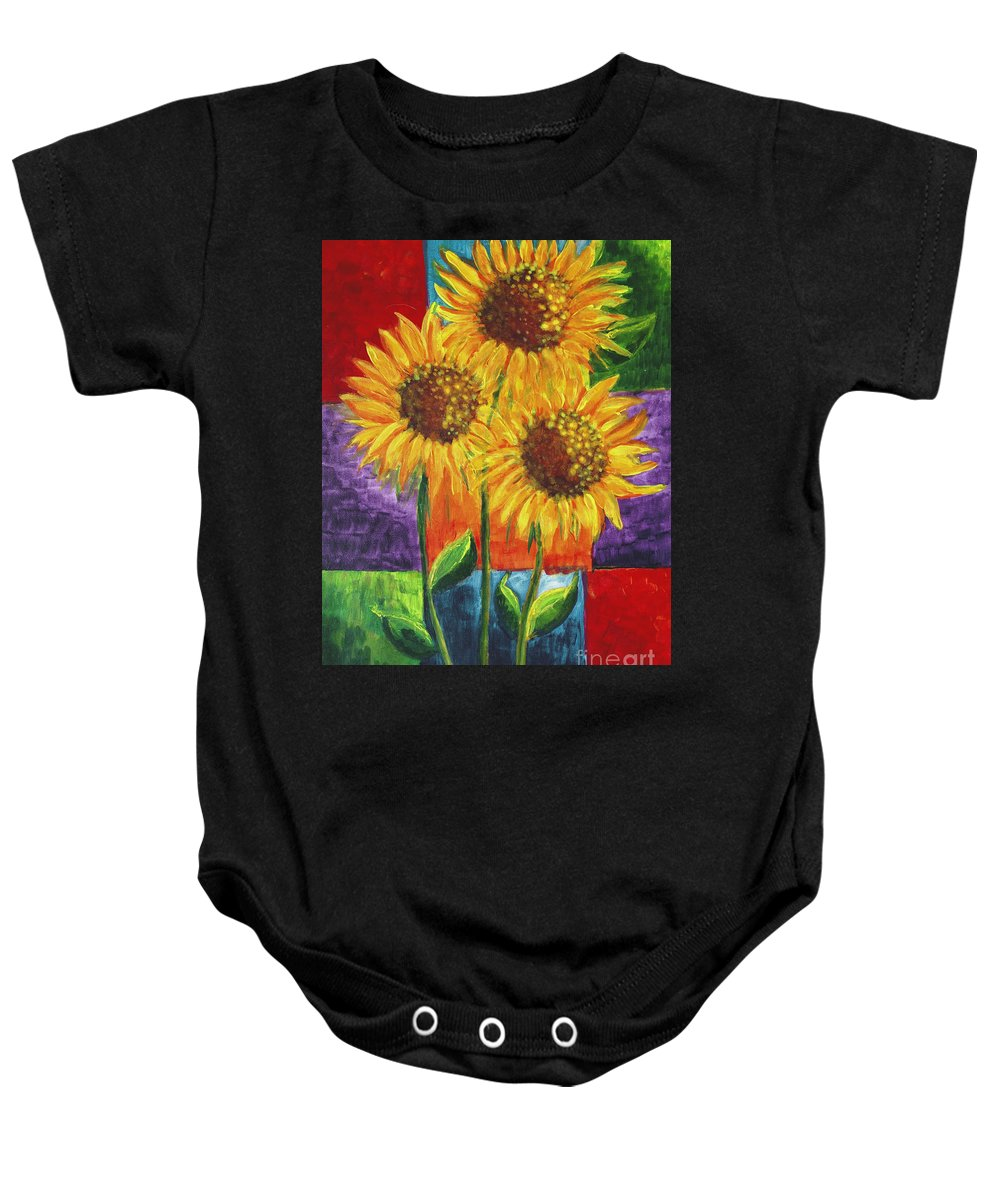 Sunflowers 1 Baby Onesie featuring the painting Sonflowers I by Holly Carmichael