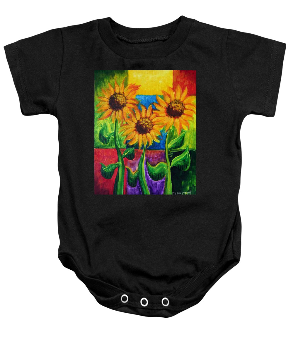 Giant Flowers Baby Onesie featuring the painting Sonflowers II by Holly Carmichael