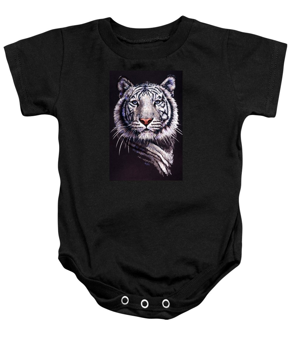 Tiger Baby Onesie featuring the drawing Sorcerer by Barbara Keith