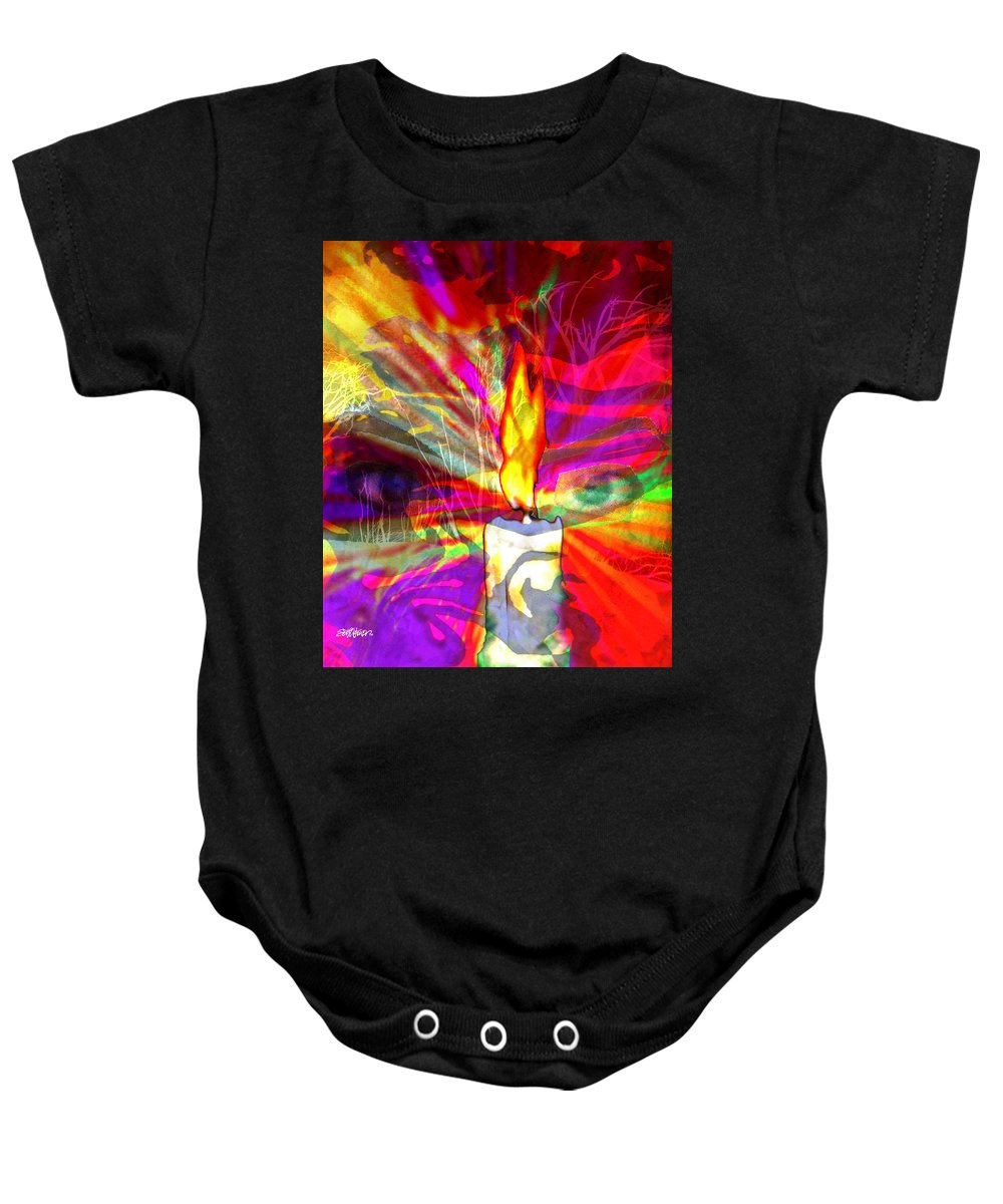Sorcerer Baby Onesie featuring the digital art Sorcerer's Candle by Seth Weaver