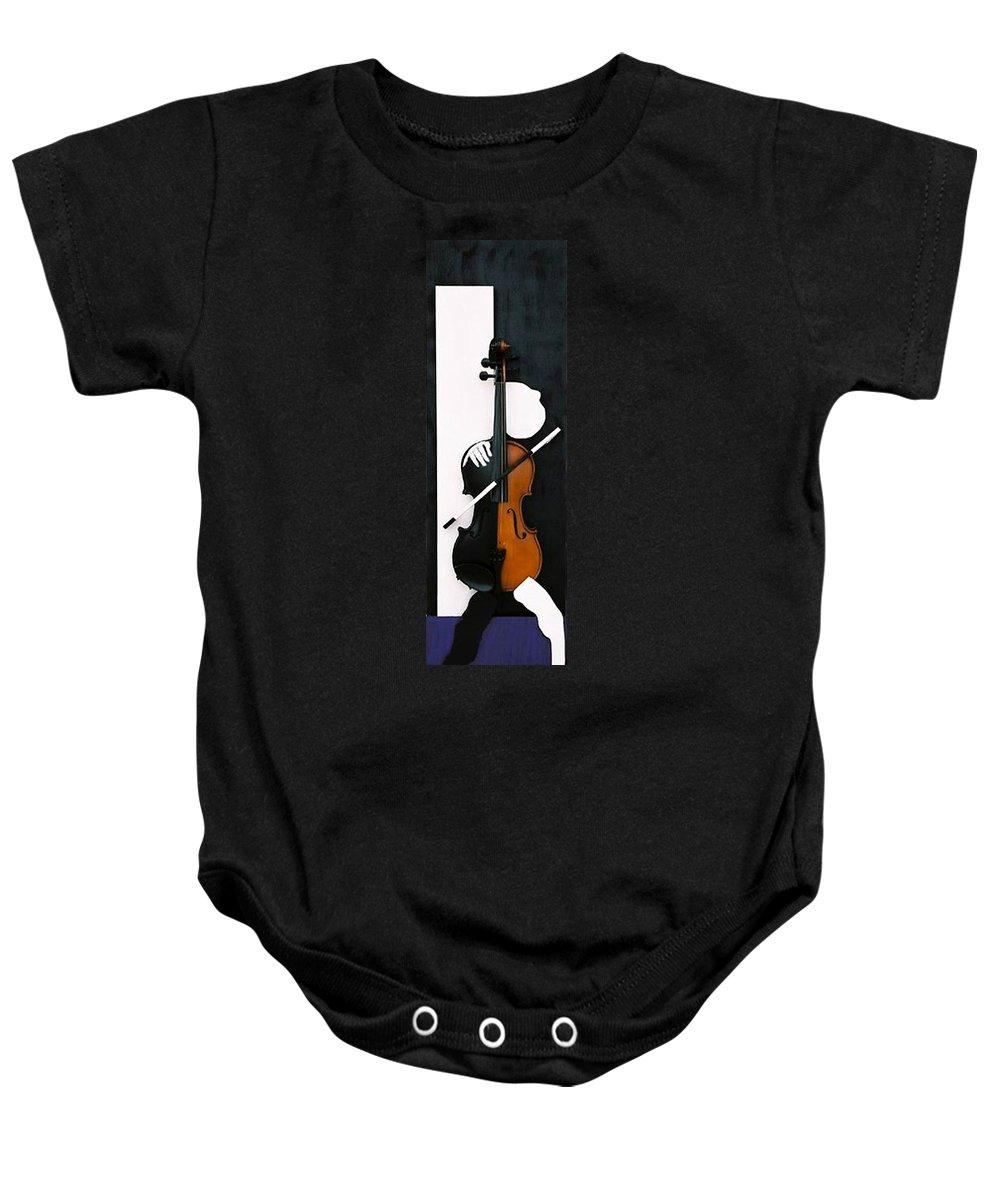 Violin Baby Onesie featuring the sculpture Soul Of Music by Steve Karol