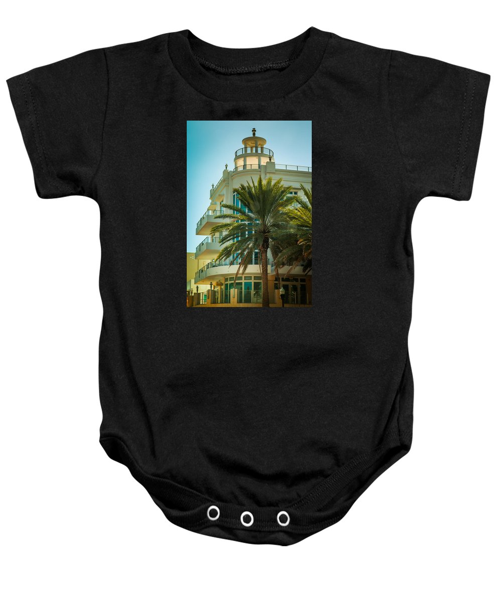 South Beach Baby Onesie featuring the photograph South Beach Vibes by Karen Wiles