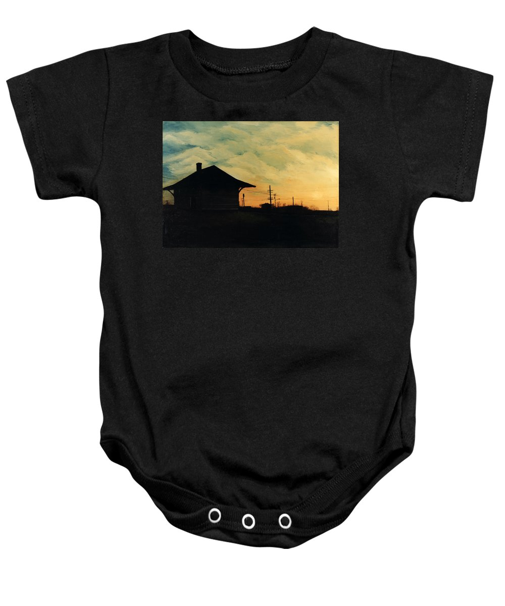 Landscape Baby Onesie featuring the painting South Holland Train Station by Rachel Christine Nowicki