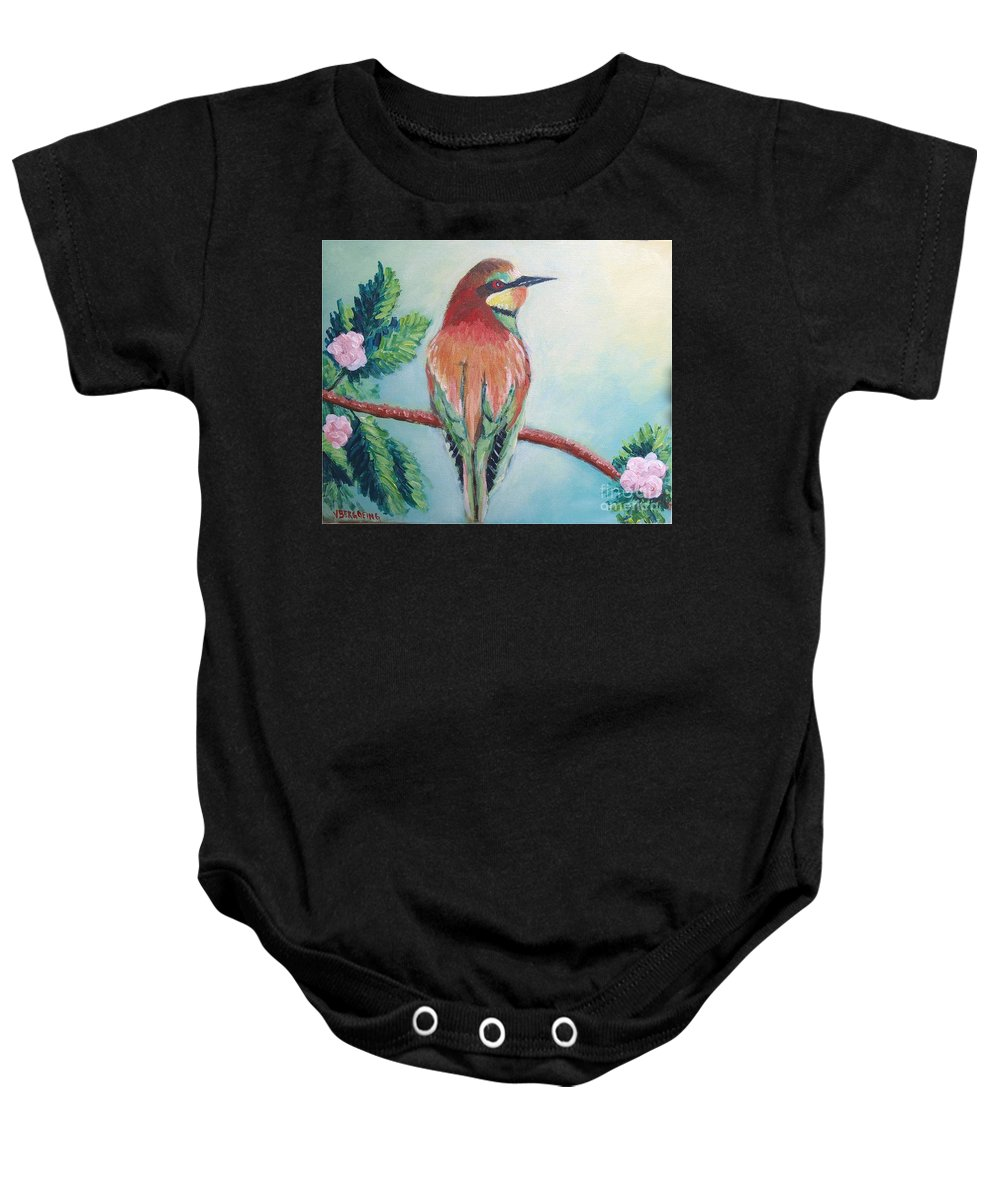 Bird Baby Onesie featuring the painting Southern Bee-eater by Jean Pierre Bergoeing