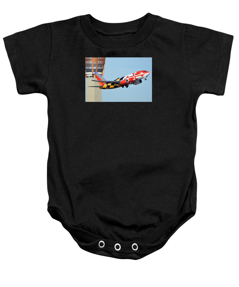 Airplane Baby Onesie featuring the photograph Southwest Boeing 737-7h4 N214wn Maryland One Phoenix Sky Harbor January 19 2016 by Brian Lockett