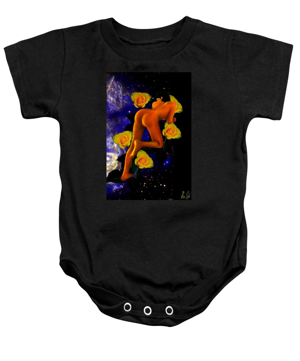 Lady Baby Onesie featuring the digital art Spacelady On Yellow Roses by Helmut Rottler