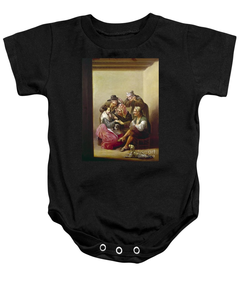 19th Century Baby Onesie featuring the photograph Spain: Palm-reading by Granger