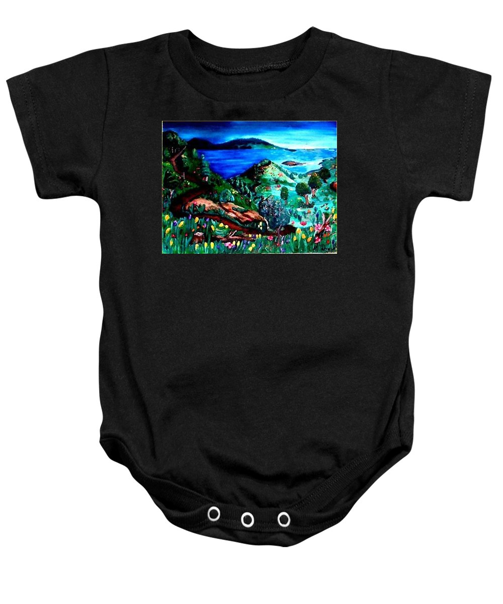 Landscape Baby Onesie featuring the painting Special Land by Andrew Johnson