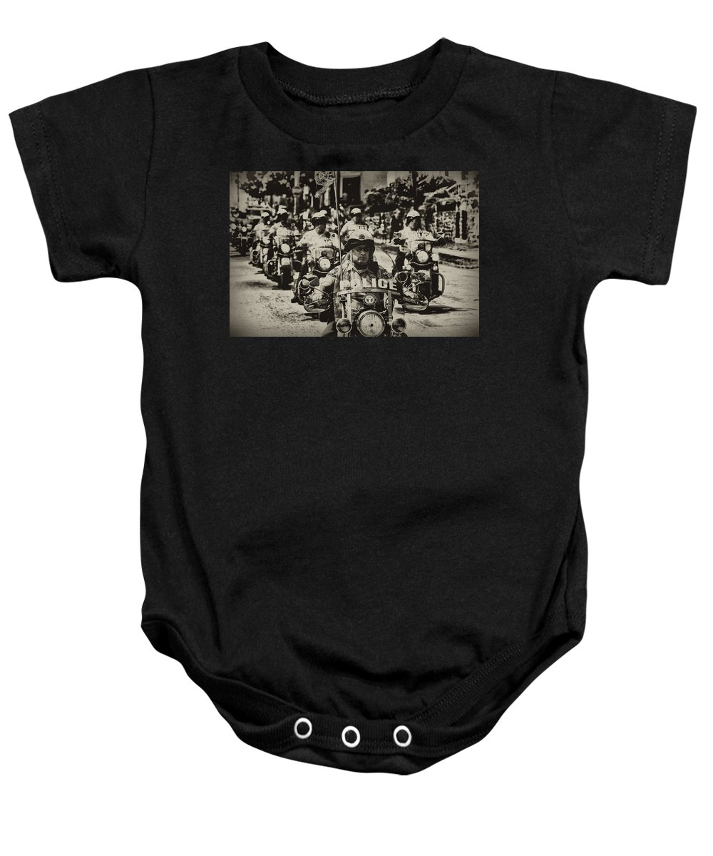Motorcycle Baby Onesie featuring the photograph Speedy Motorcycle by Bill Cannon