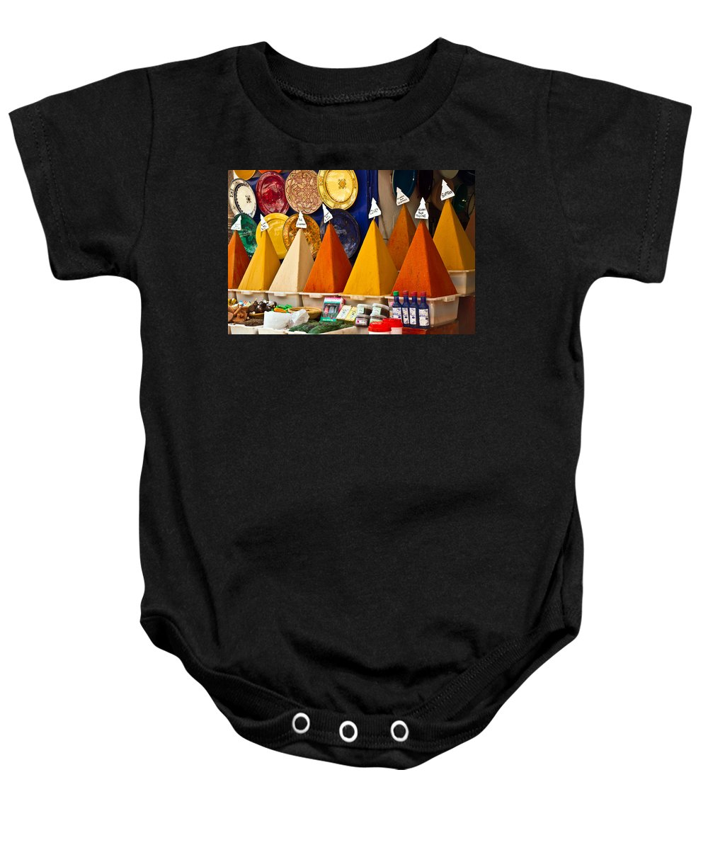 Essaouira Baby Onesie featuring the photograph spices of Morocco by Elisabeth De vries
