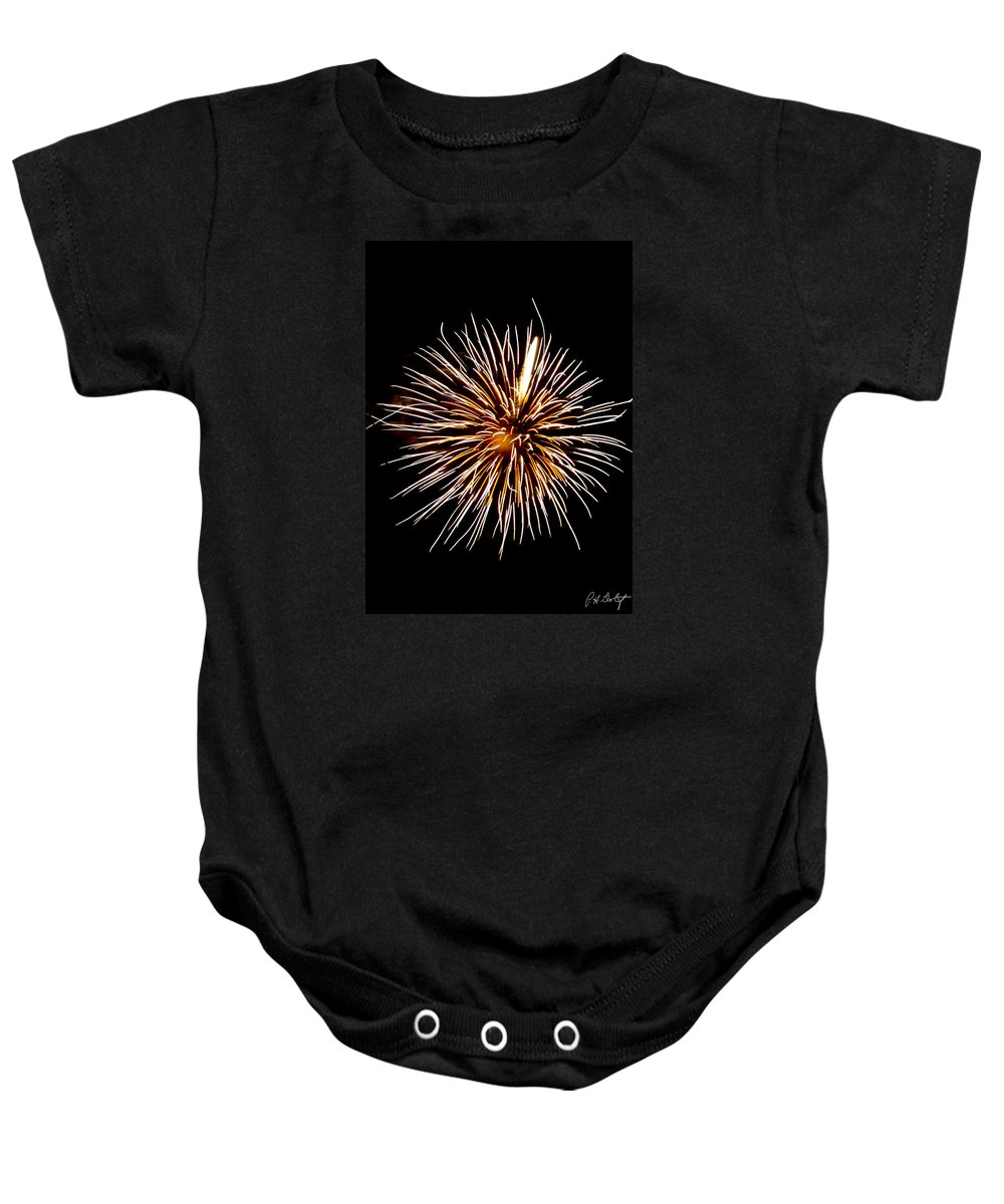July 4th Baby Onesie featuring the photograph Spider Ball by Phill Doherty