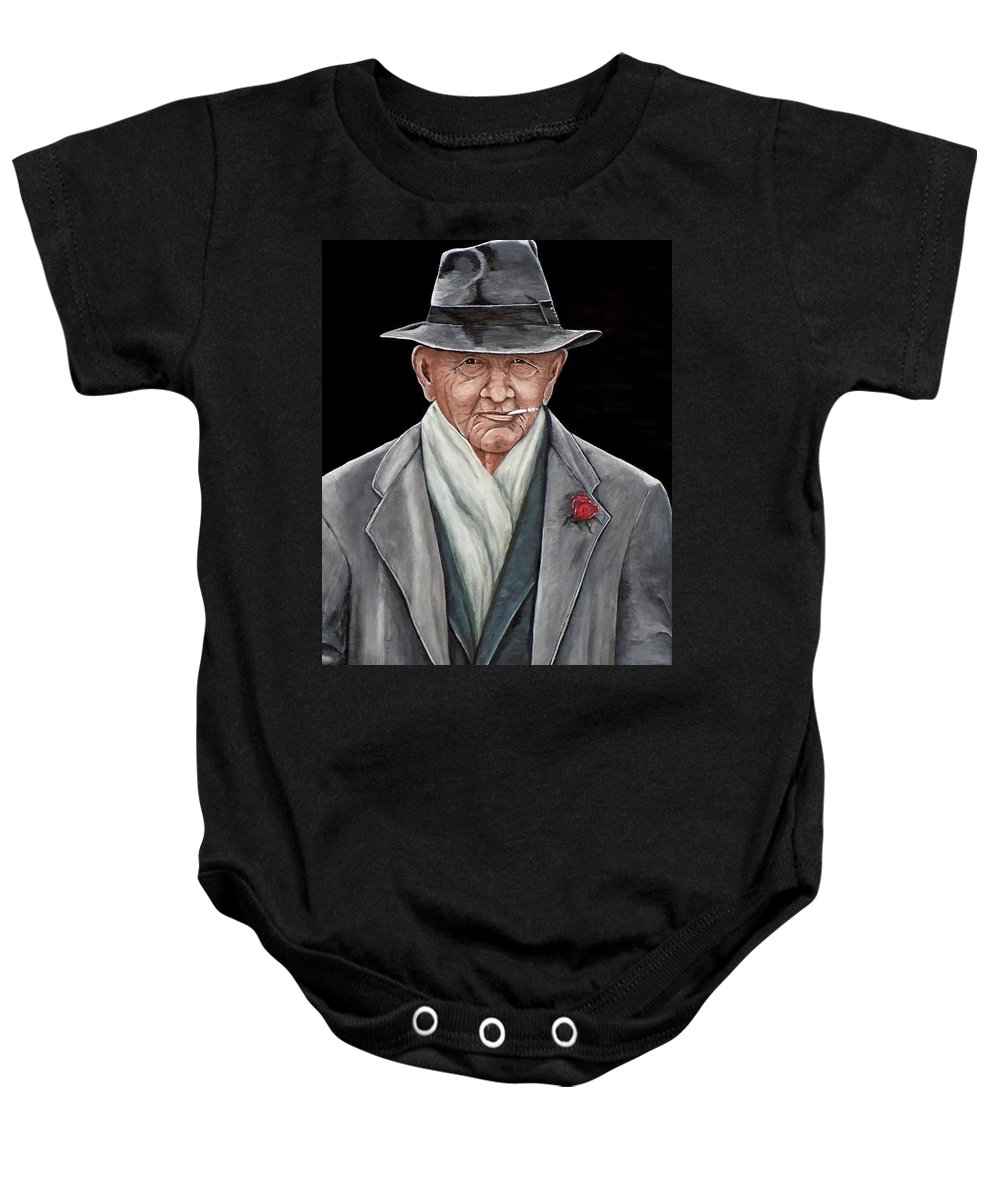 Spiffy Baby Onesie featuring the painting Spiffy Old Man by Judy Kirouac