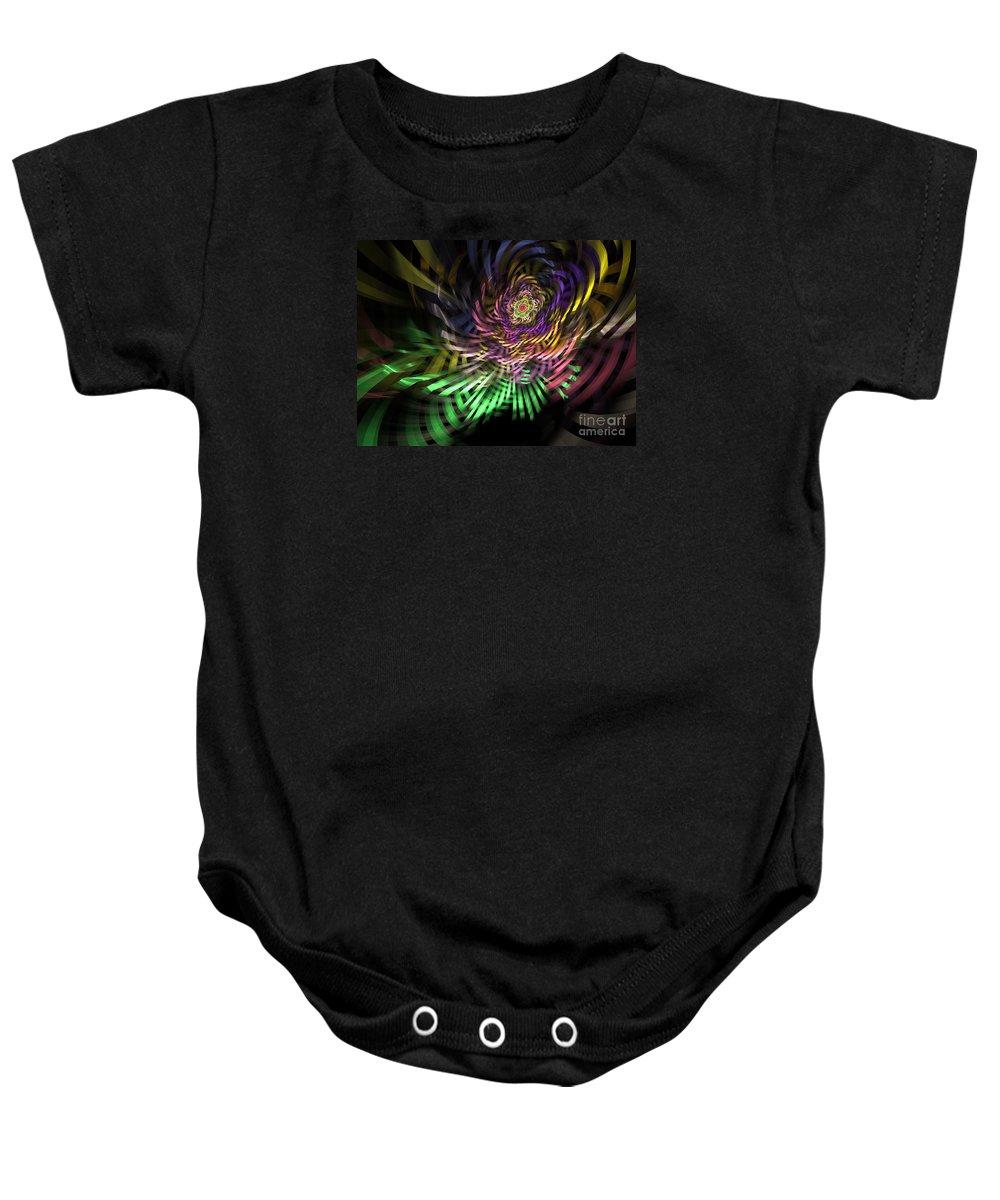 Fractal Baby Onesie featuring the digital art Spiral Rainbow by Deborah Benoit