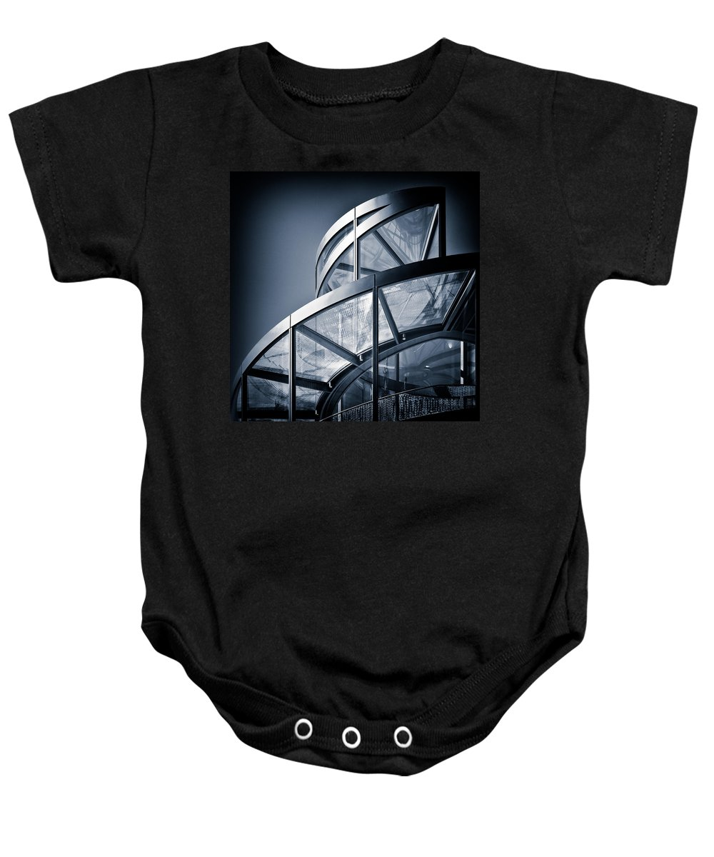 Spiral Baby Onesie featuring the photograph Spiral Staircase by Dave Bowman