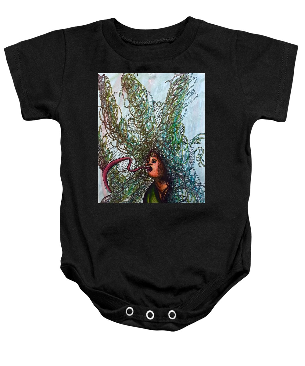 Weird Baby Onesie featuring the mixed media Spiraled by Ethan Dennis