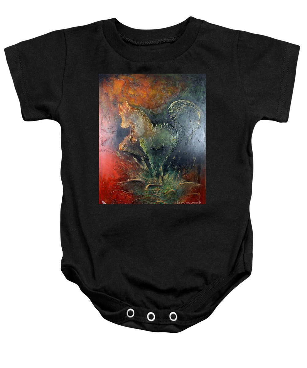 Horse Baby Onesie featuring the painting Spirit Of Mustang by Farzali Babekhan