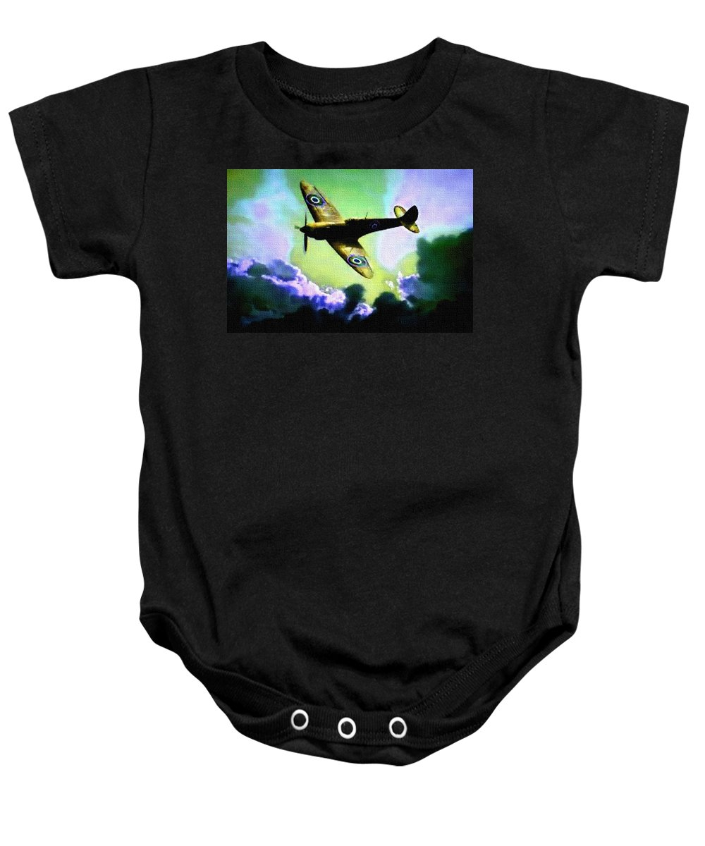 Announcement Baby Onesie featuring the painting Spitfire In The Clouds H B by Gert J Rheeders