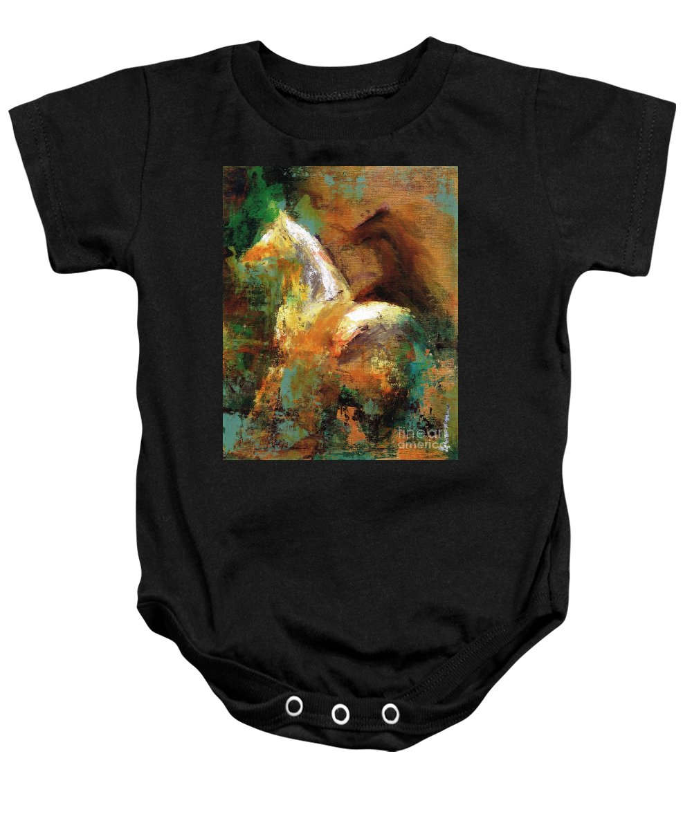 Abstract Horse Baby Onesie featuring the painting Splash Of White by Frances Marino