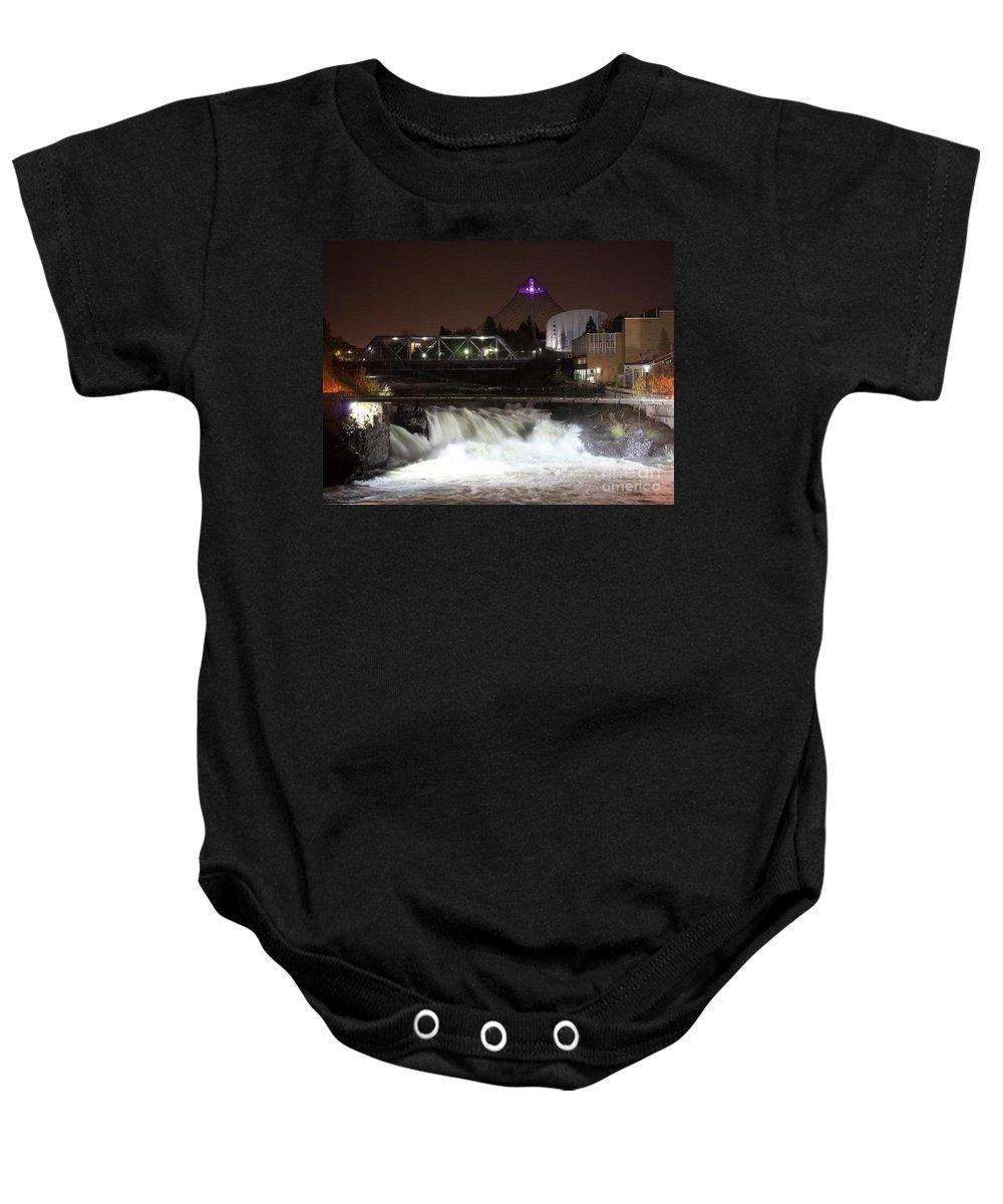 Spokane Baby Onesie featuring the photograph Spokane Falls Night Scene by Carol Groenen