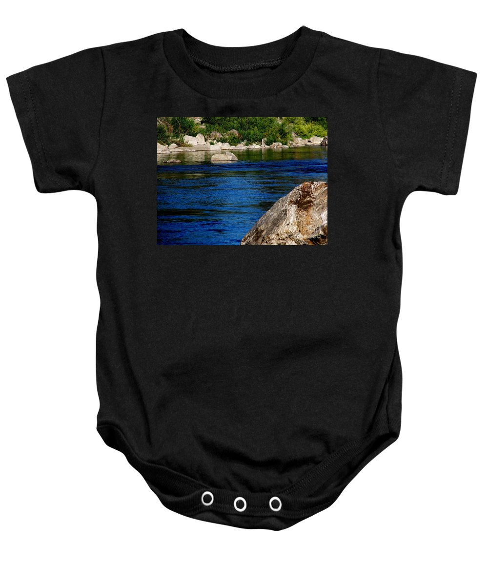 Patzer Baby Onesie featuring the photograph Spokane River by Greg Patzer