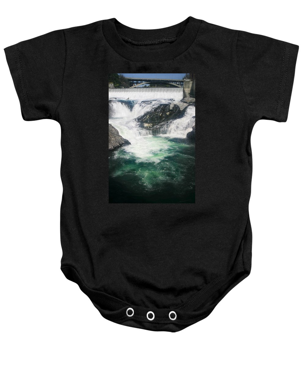 Water Falls Baby Onesie featuring the photograph Spokane Waterfalls by Anthony Jones
