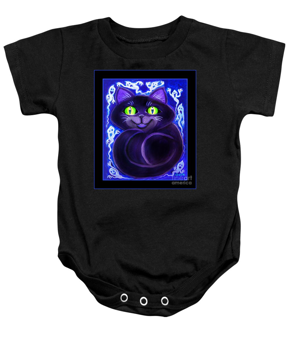 Cat Baby Onesie featuring the painting Spooky Cat by Nick Gustafson